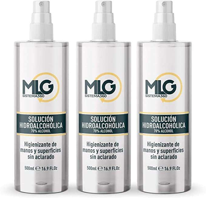 MLG SISTEMA 360 - Hidroalcohol 3 x 500ml con Spray en Aerosol | Ideal para una higiene profunda de manos